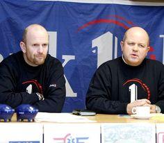 Tidligere trenerkoordinator Bjørn Tore Karlsen (t.v.) og fotballeder Dag Schultz sitter ikke lenger ved samme bord i Rygge IL.