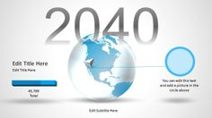 Editable Business PowerPoint template with 3D globe and 2040 text in the slide design