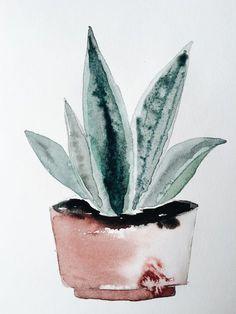 Watercolor potplant by Janneke Luursema