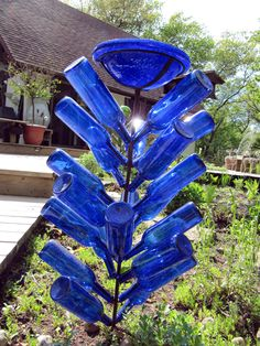 Bird bath bottle tree
