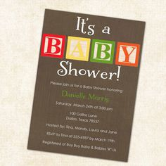 baby shower invitations with baby blocks gender by katiedidesigns, $13.00