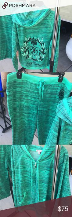 JUICY COUTURE VELOUR SPACE SET!!! BRAND NEW WITH TAGS Juicy Couture Velour space mint green...both pieces are XL only selling as a set. Juicy Couture Pants Track Pants & Joggers