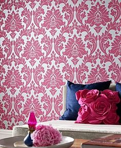 Wallpaper. Pink, white, and navy blue