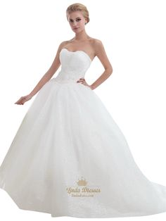 lindadress.com Offers High Quality Ivory Strapless Tulle Ball Gown Sweep Train Wedding Dresses With Beading,Priced At Only USD USD $220.00 (Free Shipping)