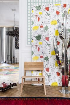 """Collaboration EnsAD x PIERRE FREY ! Pierre Frey collaborates with the students of the Ecole Nationale Supérieure des Arts Décoratifs de Paris for their new 2018 collection """"GRAND CANYON"""". Here is the wallpaper """"Solstice"""" designed by Lou Dervieux and Claire Meinhard for Pierre Frey ! photo ©Anne-Emmanuelle Thion styling ©Anne Perrichi Draeger ©Pierre Frey"""