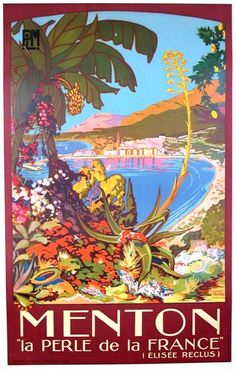 Menton, France ~ French Riviera vintage travel poster