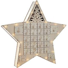 43cm pre-lit #wooden star advent calendar #christmas #decoration,  View more on the LINK: 	http://www.zeppy.io/product/gb/2/122102909305/