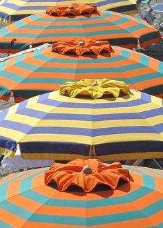 Colorful, striped umbrellas