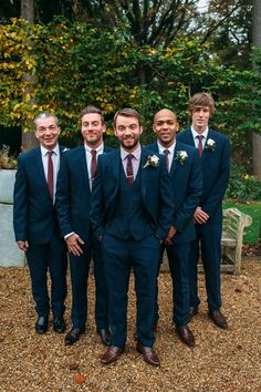 Groomsmen in three piece navy suits with maroon ties - Image by Hannah May - Autumnal rustic themed wedding with Navy, Maroon & Gold Colour Scheme. Bride in Lace Wedding Dress & Bridesmaids in beaded Navy dresses. Groom wears a suit from Next & patterned Wedding Men, Wedding Groom, Wedding Attire, Fall Wedding, Dream Wedding, Navy Wedding Suits, Navy Red Wedding, Maroon Wedding Colors, Wedding Gifts