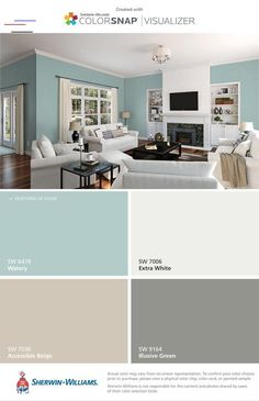 Brighten Your Life With These Living Room Color Ideas - Wohnung - Haus Design Ideen Interior Paint Colors For Living Room, Living Room Color Schemes, Paint Colors For Home, Living Room Colors, Bedroom Colors, Living Room Decor, Basement Color Schemes, Kitchen Color Schemes, Basement Paint Colors