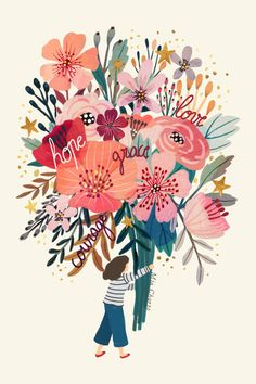 Floral bouquet Mini Art Print by Mia Charro - Without Stand - x Art And Illustration, Floral Illustrations, Art Floral, Inspiration Art, Art Inspo, Buch Design, Guache, Floral Bouquets, Framed Art Prints