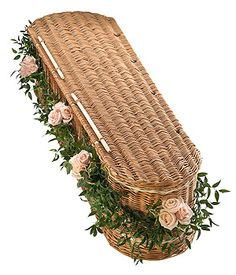Pink rose casket garland - with variegated Ivy and soft Ruscus. | Sympathy Flowers Redhill | Flowers