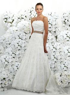 Wedding Dresses - $161.09 - A-Line/Princess Strapless Chapel Train Satin Lace Wedding Dress With Lace Sash Beading (00205001550)