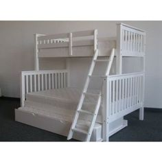 Bedz King Mission Twin over Full Bunk Bed with Trundle Finish: White