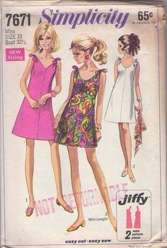 MOMSPatterns Vintage Sewing Patterns - Simplicity 7671 Vintage 60's Sewing Pattern DANDY Mod Twiggy Easy Jiffy Tied Shoulder Summer Sun Dress, Cocktail Party Mini 3 Styles Size 10