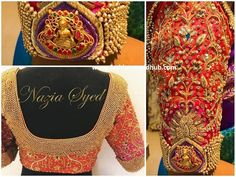 Lakshmi Pendant Bridal Blouse by Nazia Syed. Stunning bridal designer blouse with Lakshmi pendant and floret lata design hand embroidery kundan gold trhead and zardosi work. Call/ WhatsApp on 9790826888 to place your orders. New Saree Blouse Designs, South Indian Blouse Designs, Bridal Blouse Designs, Latest Maggam Work Blouses, Wedding Saree Collection, Maggam Work Designs, Designer Blouse Patterns, Indian Bridal Fashion, Sleeve Designs
