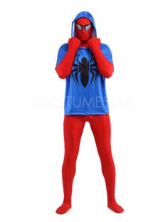 Red And Blue Spiderman Lycra Spandex Super Hero Zentai Suit - Costumeslive.com by Milanoo