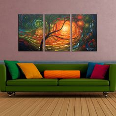 For my office! 'Dream of A Tree' 3-piece Gallery-wrapped Hand Painted Canvas Art Set
