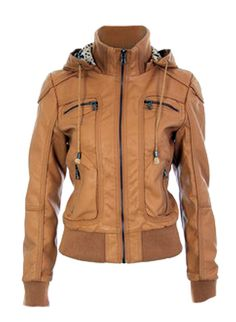 Girfez Tan Hooded Bomber Jacket