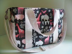 Large Diaper bag Made of Zoology Fabric / Adjustable by fromnancy, $96.00