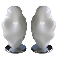 """Big Pair of Whimsical """"Cloud"""" Lamps in Murano Glass by Toso"""