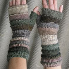 Green-gray Fingerless from the autumn olive groves. Unmatched Hand Knit gloves with upcycled wool and kid mohair