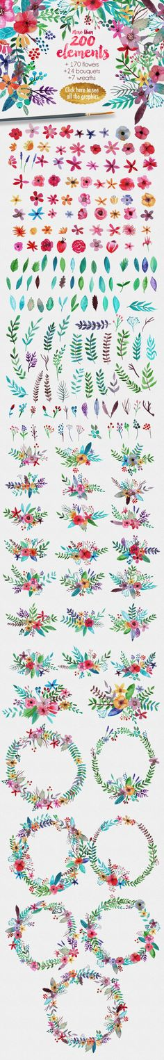 Drawing Flowers Flowertopia by Mia Charro on Creative Market - lovely floral images and illustration! Watercolor Flowers, Watercolor Paintings, Drawing Flowers, Painting Flowers, Watercolours, Motif Floral, Floral Design, Grafik Design, Zentangles
