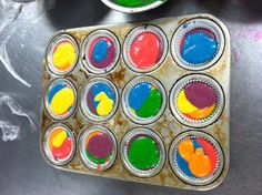 Tye-dye cupcake!   Make a yellow cake mix( I prefer a homemade mix)  You can also used a box mix( follow instructions)   Divide cake batter into 6 different bowls and dye each bowl of batter with a different color, use right colors!   Layer the cupcake holder with the different colors.. DO NOT MIX or the batter will become a dark brown and will not be pretty   Bake, and let cool
