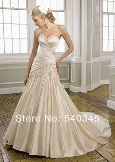 Champagne Wedding Dresses 2016 New Fashionable Appliques Beading Sequined Pleat Sexy Backless Lace-up Satin Bridal Gowns