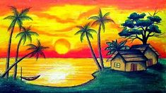 How to draw Scenery of Sunset with Oil Pastel.Step by step(easy draw). Very easy drawing Scenery of Sunset with Oil Pastel step by . Beautiful Scenery Drawing, Scenery Drawing For Kids, Art Drawings For Kids, Easy Drawing For Kids, Couple Drawings, Scenery Paintings, Oil Pastel Paintings, Oil Pastel Art, Oil Pastel Drawings Easy