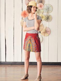 $48.00 Pleated Mini Skirt- Handmade in Uganda and Fair Trade