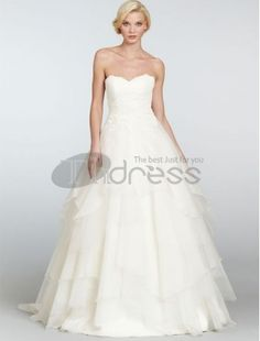 A-Line Satin Sweetheart Neckline Wedding Dress with Tiered Skirt