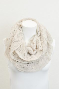 Bisou Ivory Ruffle Infinity Scarf