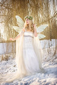 ♥fairy in snow love trailing net sleeves gauze and inspiration from dark ages, floral crown glazed wings