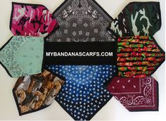Bandana scarves custom made for outdoor hobbies with either cotton material, another bandana, flannel or fleece backing. Biker Bandanas, Bandana Scarf, Velcro Straps, Custom Made, Flannel, Scarves, Hobbies, Cotton, Outdoor