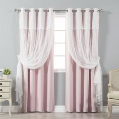 Aurora Home Tulle Sheer with Attached Valance and Blackout Mix and Match 4-piece Curtain Panel Pair