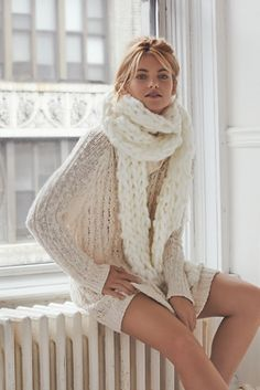 Free People Cable Open Back Sweater