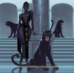 f Sorcerer Robes Bracelets female hilvl urban City Tower Black Panther Companions med Black Love Art, Black Girl Art, Art Girl, Arte Black, Afrique Art, Black Art Pictures, Black Artwork, Goddess Art, Afro Art