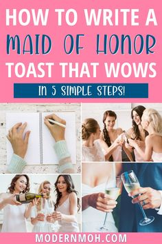 How to write a maid of honor speech that will totally wow! Follow our simple 5-step method to writing and delivering an epic MOH speech, including how to finish with a bang! #howtowriteamaidofhonorspeech #maidofhonorspeechforbestfriend #maidofhonorspeechforsister #ModernMaidofHonor #ModernMOH Maid Of Honor Toast, Maid Of Honor Speech, Sister Wedding, Wedding Day, Bridal Shower Activities, Bridal Games, How We Met, Wedding Toasts, Free Wedding