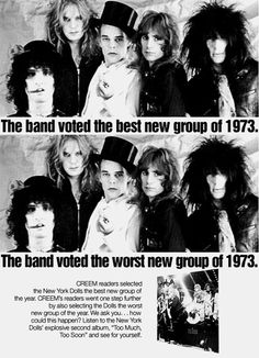 """New York Dolls, Creem Magazine ad for their second and posthumous album """"Too Much Too Soon"""", 1973"""