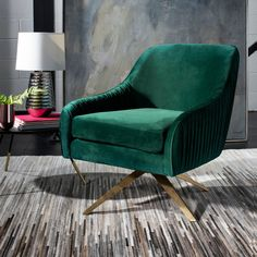 Savor the embrace of this luxurious contemporary pleated swivel armchair. Designers love its emerald hue and the finely crafted pleats on its plush velvet upholstery. Its retro-style legs feature a radiant gold finish that highlights its chic mod style. Swivel Armchair, Upholstered Chairs, Chair Cushions, New Living Room, Living Room Chairs, The Embrace, Club Chairs, Bar Chairs, Pink Chairs