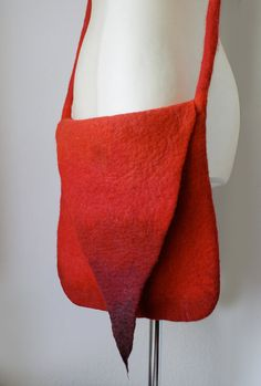 Pointy Red Messenger Shoulder Felted Bag -- Hand felted wool