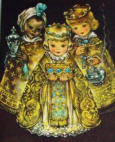 Vintage Christmas Three Kings Card.