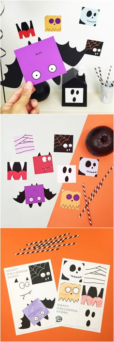 Free Printable Halloween Fun Cards for Kids with Coloring Option. These would make cute Halloween favors! Fun Halloween Games, Halloween Decorations For Kids, Halloween Favors, Halloween Art, Trendy Halloween, Happy Halloween, Halloween Costumes, Fall Art Projects, Toddler Art Projects