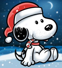 how to draw christmas snoopy