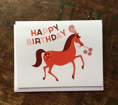 Fancy Horse Birthday Card by thebeautifulproject on Etsy