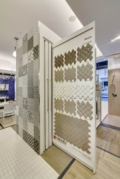 www.nemotile.com Tile Showroom, Showroom Design, Tile Stores, Exhibition Booth Design, Commercial Interiors, Office Interiors, Home Buying, Decoration, Flooring