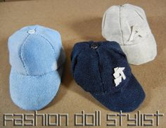 How to make a Baseball Cap for Ken or Barbie. Fashion Doll Stylist www.fashiondollstylist.blogspot.com