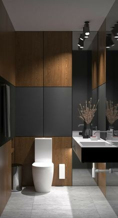 Akhunov Architects, The design of the guest bathroom solution without the use of. - Akhunov Architects, The design of the guest bathroom solution without the use of wall tiles, decora - Bad Inspiration, Bathroom Inspiration, Bathroom Ideas, Bathroom Plans, Bathroom Grey, Bathroom Wall, Bathroom Marble, Master Bathroom, Bathroom Toilets