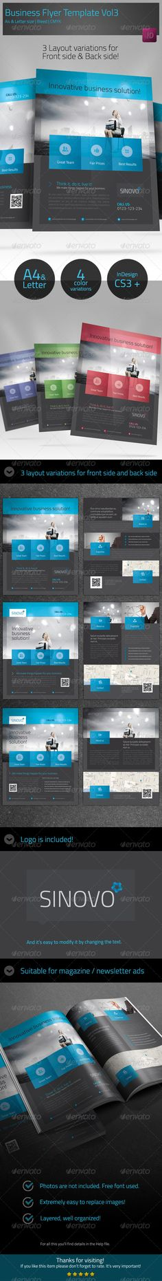 Business Corporate Flyer Template vol3 #GraphicRiver Business Flyer Description This Business / Corporate flyer is ideal for companies who want to present themselves in an elegant, professional and organized manner. It can help you summarize the important aspects about the company. It's suitable also for magazine / newsletter ads, posters, pdf email attachment. The package includes 3 layouts variations for front and 3 layouts variations for back side. All elements in the design such as text…